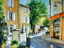 Dorf, Kaffee, Shild, Malerei