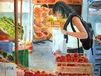 Mädchen, Obst gemüse, Pfirsch, Lade