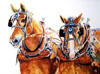 Arbeitspferde gemälde, Aquarelle pferdemalerei, Schwere pferde gemälde, Aquarell