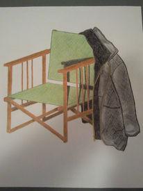 Jacke, Stuhl, Zeichnungen, Stillleben