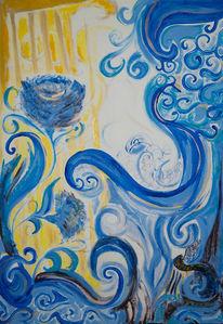 Blau, Abstrakt, Blumen, Acrylmalerei