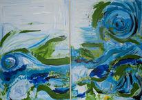 Ozean, Acrylmalerei, Deepwater horizon, Abstrakt