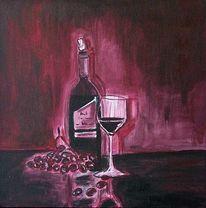 Weinglas, Stille, Trauben, Flasche