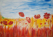 Weizen, Feld, Rot, Mohn