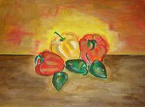 Paprika, Stillleben, Acrylmalerei, Gemüse