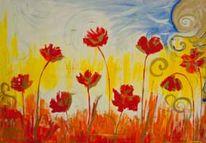 Abstrakt, Acrylmalerei, Roter mohn, Rot