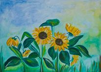 Sonnenblumen, Sommer, Blumen, Malerei
