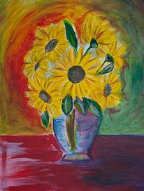 Sonnenblumen, Gelb, Vase, Acrylmalerei