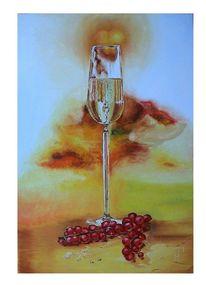 Wein, Beere, Glas, Malerei