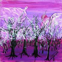 Landschaft, Wald, Baum, Acrylmalerei
