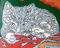Katze, Gemählde, Malerei, Kunstdruck
