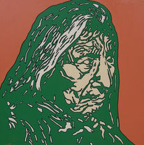 Indianer, Portrait, Kunstwerk, Ölmalerei