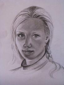 Gesicht, Bleistiftzeichnung, Licht, Portrait
