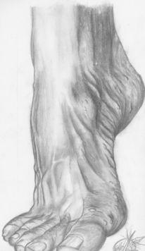 Fuß, Menschen, Bleistiftzeichnung, Realismus