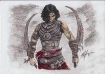 Persien, Rüstung, Buntstiftzeichnung, Schwert