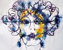 Locken, Blau, Frauenportrait, Gold