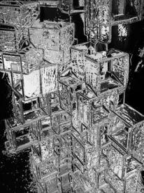 Kristall, Stapel, Eiswürfel, Digitale kunst