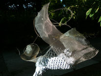 Flugzeug, Flügel, Metall, Skulptur