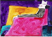 Wasser, Postkarte, Tusche, Pinsel