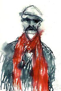 Flüchtig, Rot, Schal, Portrait