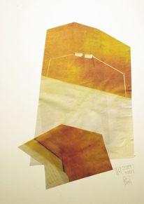 Braun, Zeitung, Collage, Segel