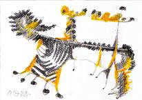 Gelb, Schwarz, Skurril, Zeichnungen