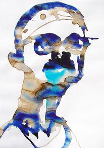 Selbstportrait, Aquarellmalerei, Studie, Portrait