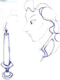 Zeichnung, Kerzen, Gesicht, Blick