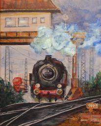 Lokomotive, Bahnhof, Stellwerk, Dampflok