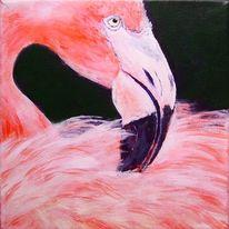 Gewässer, Vogel, Flamingo, Malerei