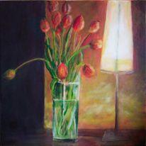 Tulpen, Glas, Blumen, Lampe