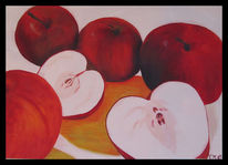 Rot, Apfel, Obst, Malerei