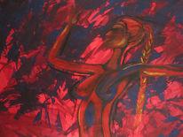 Abstrakt, Akt, Frau, Rot