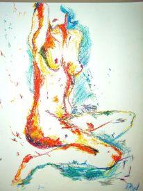 Pastellmalerei, Orange, Akt, Rot