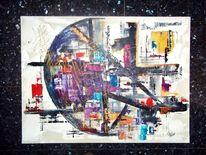 Abstrakt, Acrylmalerei, Weiß, Bunt