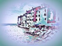 Häuserzeile, Felsen, Meer, Bucht