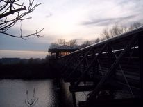 Herbst, Sonnenuntergang, Brücke, Grau