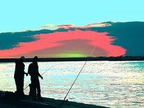 Schatten, Blau, Sonnenuntergang, Rot