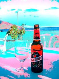 Bier, Blau, Glas, Rosa