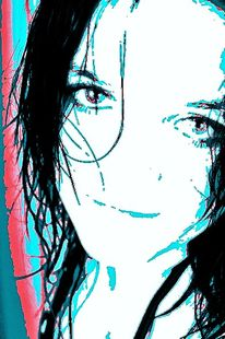 Rot schwarz, Blau, Frau, Portrait