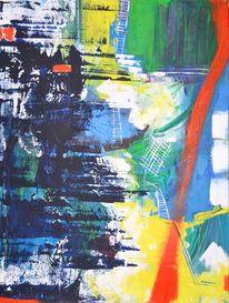 Acrylmalerei, Orange, Vielschichtig, Blautöne