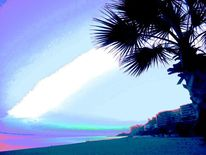 Palmen, Dorf, Küste, Strand