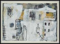 Weißes dorf, Spachteltechnik, Häuser, Acrylmalerei