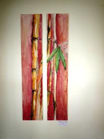 Malerei, Bambus, Rot