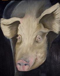Stall, Zucht, Tiere schwein, Ölmalerei