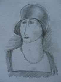 Skizze, Frau, Portrait, Zeichnung