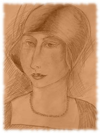 Portrait, Zeichnung, Bleistiftzeichnung, Frau