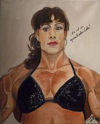 Ölmalerei, Bodybuilderin leinwand öl, Muskulatur, Bodybuilderin
