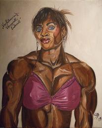 Bodybuilderin leinwand öl, Ölmalerei, Bodybuilderin, Malerei