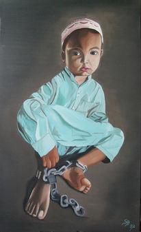 Kind, Ölmalerei, Malerei, Menschen
